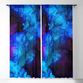 The Sorcerer's Shore - Blue + Purple Abstract Blackout Curtain