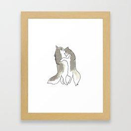 wolf hug Framed Art Print