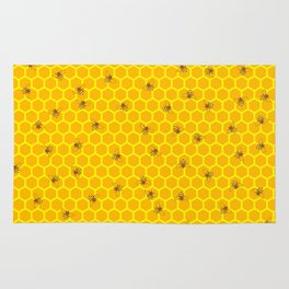 Mind Your Own Beeswax / Bright honeycomb and bee pattern Rug