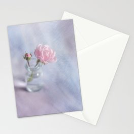 Square with a small rose Stationery Cards