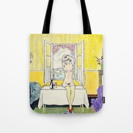 Vintage Erotic Hand Colored Nude Wine Glasses Blindfold Tote Bag