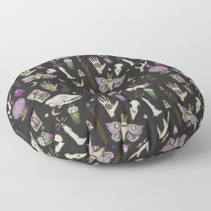 WITCH pattern • in black salt Floor Pillow