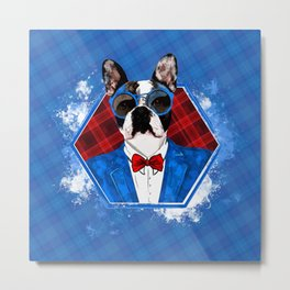 Hipster French Bulldog -Frenchie Metal Print