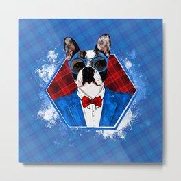 Hipster French Bulldog -Frenchie Metal Print