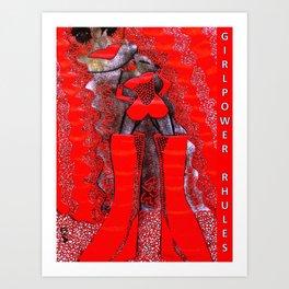 pOOs star of #GirlPower Rhules: from original tetkaART Art Print