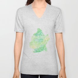 Typographic Brooklyn - Green Watercolor map art Unisex V-Neck