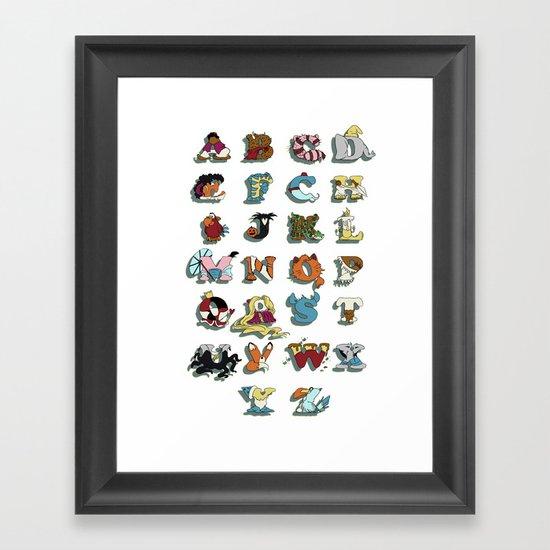 The Disney Alphabet - White Background Framed Art Print
