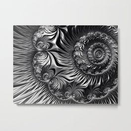 Elegant Silver And Black Fractal  Metal Print