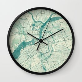 Ottawa Map Blue Vintage Wall Clock