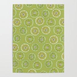 Lime Oranges Pattern Poster