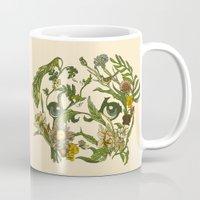 pug Mugs featuring Botanical Pug by Huebucket