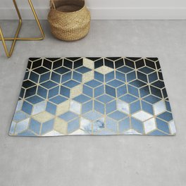 Shades Of Blue Cubes Pattern Rug