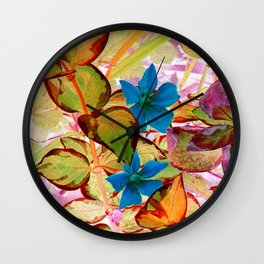 Blue Flower in the Fall - IA Wall Clock