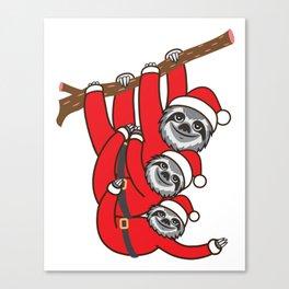 Santa Sloths Canvas Print