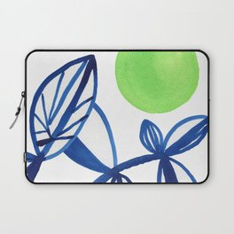 Navy blue and lime green abstract leaves Laptop Sleeve