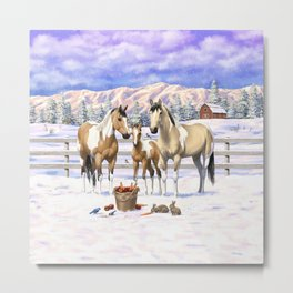 Buckskin Pinto Paint Quarter Horses In Snow Metal Print