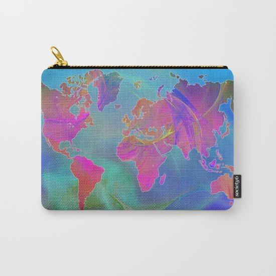 World Map Fractal Carry-All Pouch