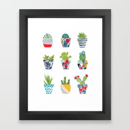 Funny cacti illustration Framed Art Print