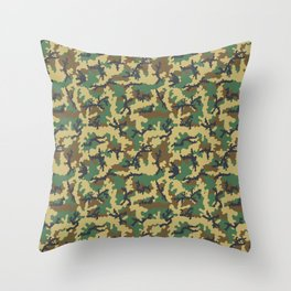 Woodland camouflage Throw Pillow