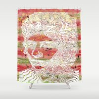 bob dylan Shower Curtains featuring Bob Dylan #7 by Travis Poston