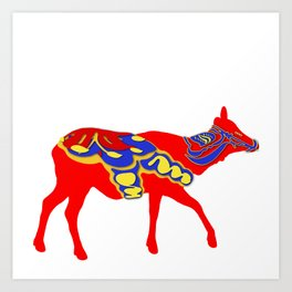 Graphic Dala Elk Female Art Print