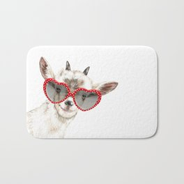 Hipster Goat with Glasses Bath Mat