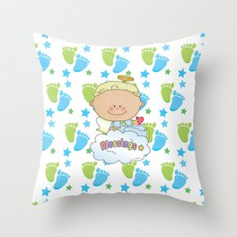 Baby Feet Angel Blessing Throw Pillow