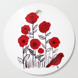 Tall poppies and red bird Cutting Board