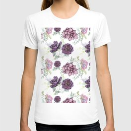 Succulents Deep Violet Lavender Pastel Green Lilac PatternSee Nature Magick for more pretty pastel c T-shirt