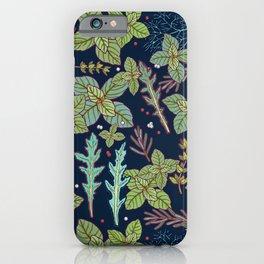 dark herbs pattern iPhone Case