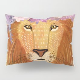 Lion with flowers on head Pillow Sham