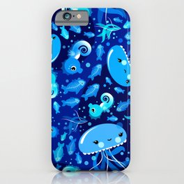 Illustration Under Water Creatures with Jellyfishes and Seahorses iPhone Case