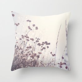 Wintry Hillside Plants Throw Pillow