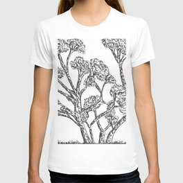 Black and white Rollerball Pen Tree Branches Drawing T-shirt