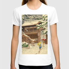 Asano Takeji Snow In Yuki Shrine Vintage Japanese Woodblock Print East Asian Beautiful Art T-shirt