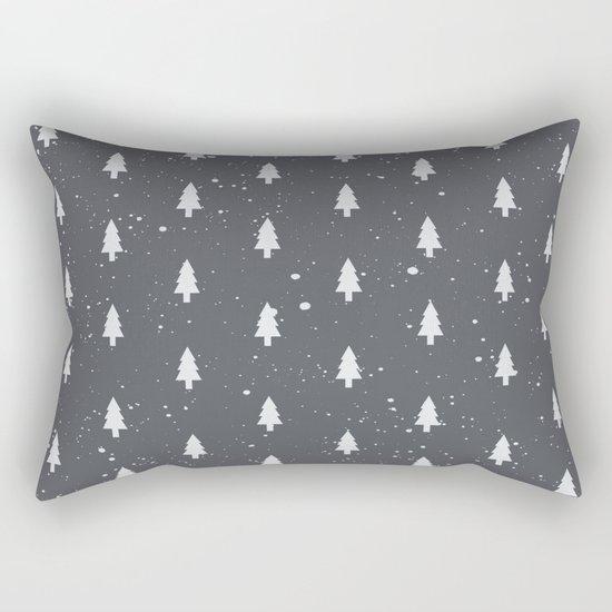Christmas Trees Pattern Grey Rectangular Pillow