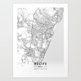 Recife, Brazil - Light Map Art Print