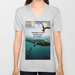 Adventure Wisdom Quotation With Underwater Scene Painting Unisex V-Neck