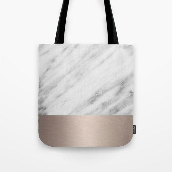Carrara Italian Marble Holiday White Gold Edition Tote Bag
