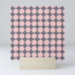 Retro Pink and Grey Pattern  Mini Art Print