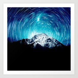 Between the galaxy and the mountain Art Print