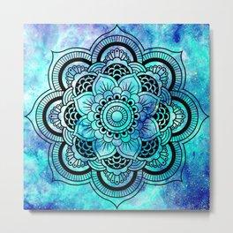 Galaxy Mandala Aqua Indigo Metal Print