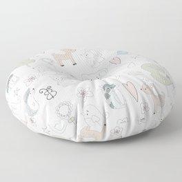 Hand Drawn Cute Animals Floor Pillow