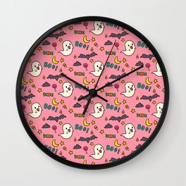 Happy Halloween ghosts, bats, boo and sweets pattern Wall Clock