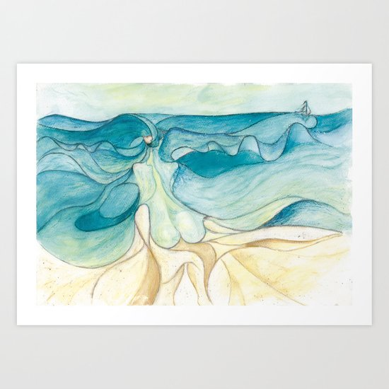 Nude at the sea Art Print