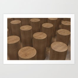 Wood with cylinders Art Print