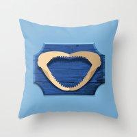 shark Throw Pillows featuring Shark! by DWatson