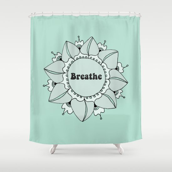 Breathe Yoga Boho Mandala Light Blue Green Shower Curtain