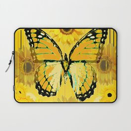 ABSTRACT BUTTER COLORED YELLOW BUTTERFLY FLORA Laptop Sleeve