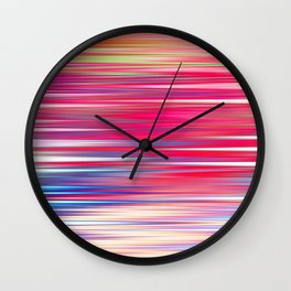 pink abstract with horizontal stripes Wall Clock